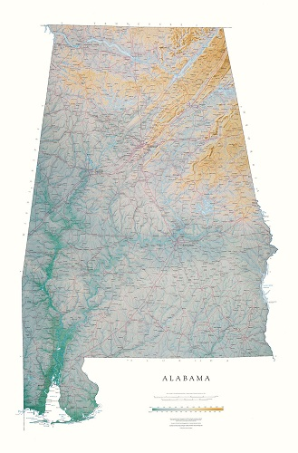 Alabama | Elevation Tints Map | Wall Maps