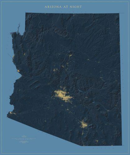 Map Of Just Arizona.Arizona At Night Map