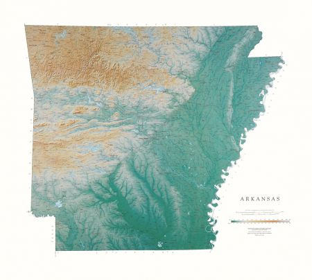 Arkansas | Elevation Tints Map | Wall Maps