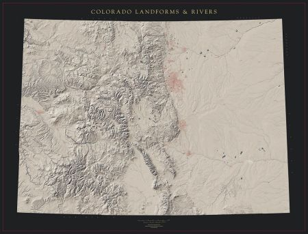 Colorado Landforms And Rivers Map Fine Art Print Maps - Map of colorado