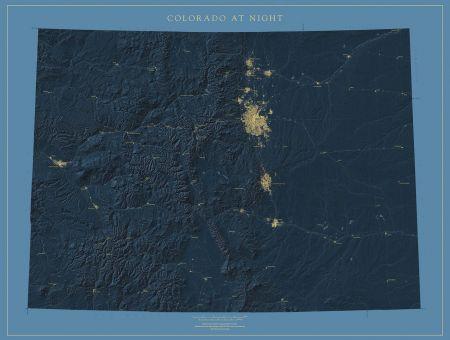 Colorado Map Art.Colorado Nightviews Map Fine Art Print