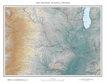 Black Hills Elevation Map.Central Plains Prairie Elevation Tints Map Fine Art Print Map
