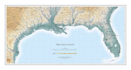 Gulf Coast & Lower Mississippi River Map | Fine Art Print Map
