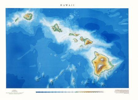 Hawaii Elevation Tints Map Wall Maps - Hawaii world map