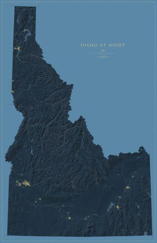 Idaho Nightviews Map Fine Art Print