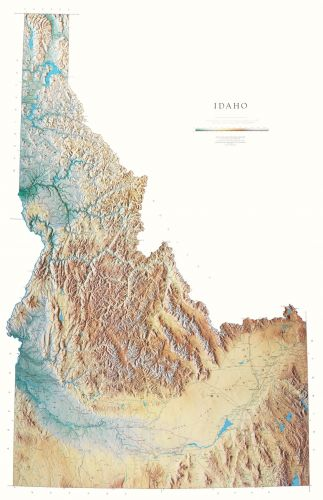 Idaho Elevation Tints Map | Beautiful Artistic Maps