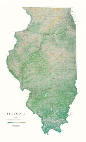 Illinois | Elevation Tints Map | Wall Maps