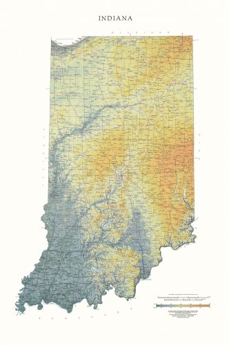 Indiana   Elevation Tints Map   Wall Maps