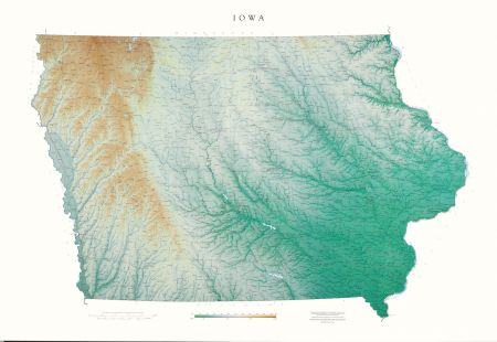 Iowa Elevation Tints Map Wall Maps