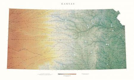 Kansas | Elevation Tints Map | Wall Maps on