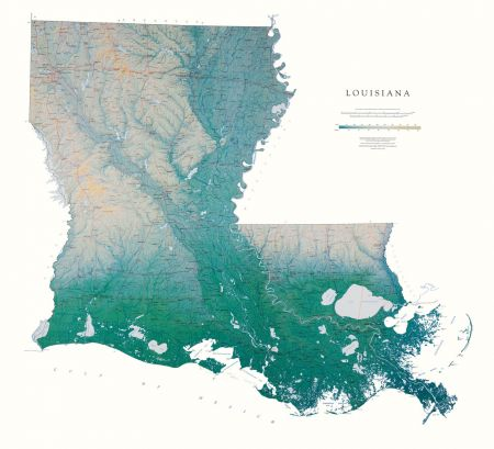 Louisiana Elevation Tints Map Wall Maps - Lousiana map