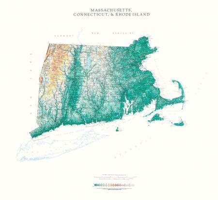 Connecticut, Massachusetts, Rhode Island | Elevation Tints Map ...