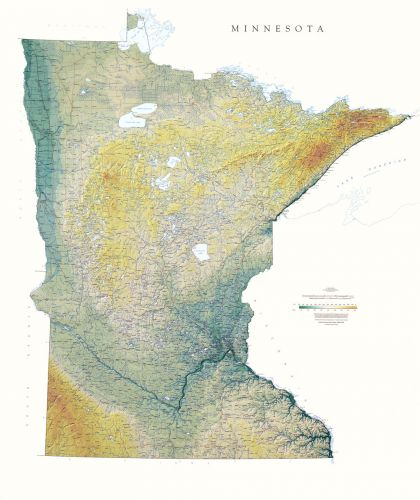 Minnesota Elevation Tints Map Wall Maps - Maps of minnesota