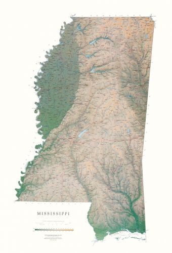 Mississippi Elevation Tints Map Wall Maps - Mississippi maps