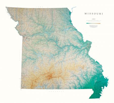 Missouri Elevation Tints Map Wall Maps - Missouri maps