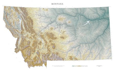 Montana Elevation Tints Map Beautiful Artistic Maps - Topographical map us of 1804