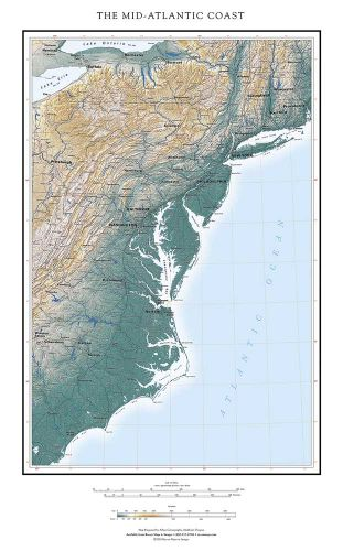 Mid Atlantic States Map.The Mid Atlantic Coast Mapmap Fine Art Print Map