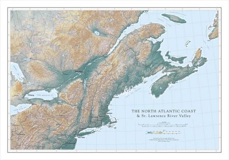 St Lawrence River World Map.North Atlantic And St Lawrence River Valley Elevation Tints Map