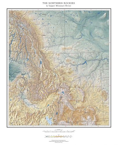 The Northern Rockies & Upper Missouri River Elevation Tints Map ...