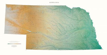 Nebraska Elevation Tints Map Wall Maps