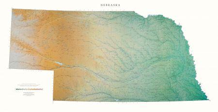 Nebraska | Elevation Tints Map | Wall Maps