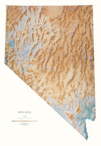 Topographic Map Of Nevada.Nevada Elevation Tints Map Beautiful Artistic Maps