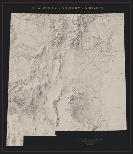 New Mexico Landforms and Rivers Map | Fine Art Print Maps