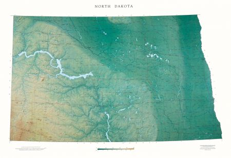 topographic map of north dakota North Dakota Elevation Tints Map Wall Maps