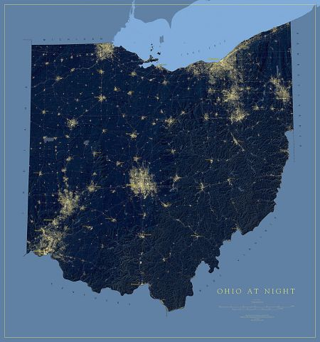 Ohio nightviews map fine art print ohio at night map gumiabroncs Gallery