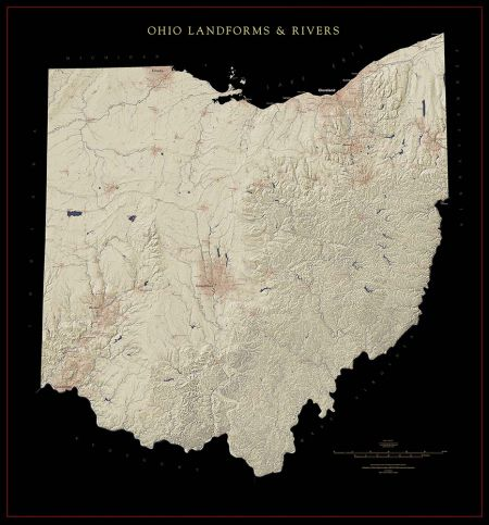 Ohio Landforms And Rivers Map Fine Art Print Maps