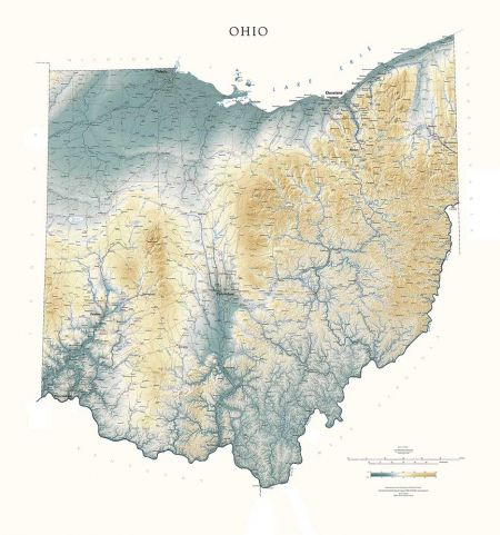 Topography Map Of Ohio.Ohio Elevation Tints Map Fine Art Print Map