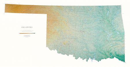 Oklahoma Map Elevation Tints Map Wall Maps