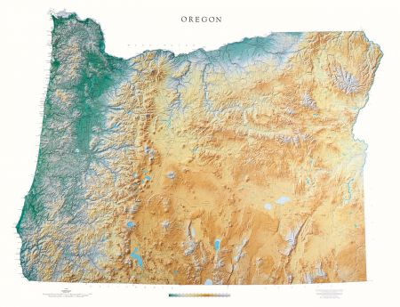 Oregon Elevation Tints Map Beautiful Artistic Maps - Oregon map