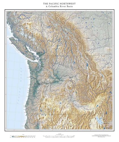 Map Of The Pacific Northwest Pacific Northwest & The Columbia River Basin Elevation Tints Map  Map Of The Pacific Northwest