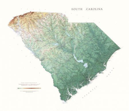 South Carolina | Elevation Tints Map | Wall Maps