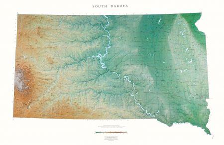 South Dakota | Elevation Tints Map | Wall Maps