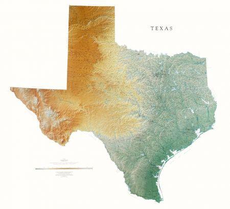 Texas Elevation Tints Map Beautiful Artistic Maps
