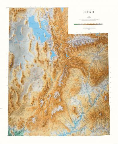 Utah Elevation Tints Map Beautiful Artistic Maps - Topographic map of utah