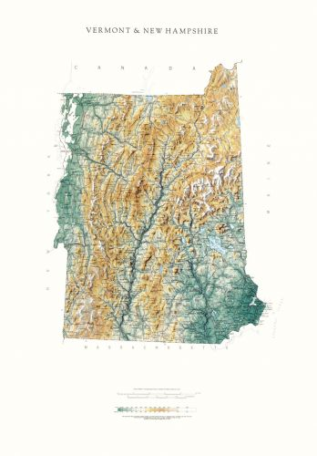 New Hampshire and Vermont Map | Elevation Tints Map | Wall Maps