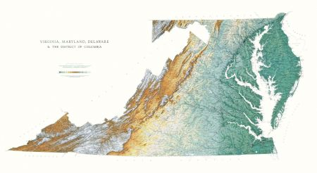 Chesapeake Bay Topographic Map.Delaware Maryland Virginia Elevation Tints Map Wall Maps
