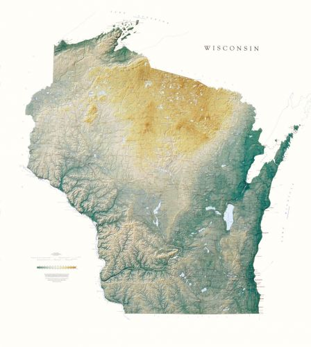Wisconsin | Elevation Tints Map | Wall Maps