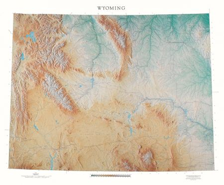Wyoming Elevation Tints Map Beautiful Artistic Maps - Map of wyoming cities and towns