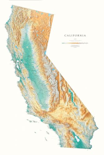 California Elevation Tints Map Beautiful Artistic Maps - Califonia map