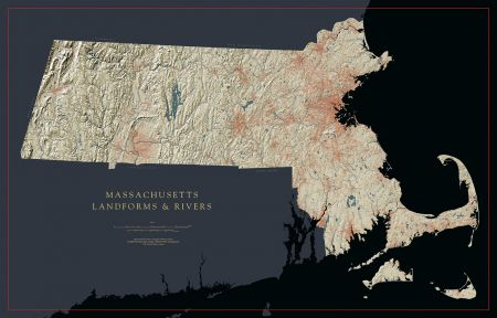 Machusetts - Landforms and Rivers Map on