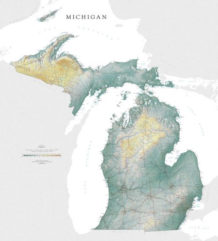 Water Elevation Map.Michigan Elevation Tints Map Fine Art Print Map