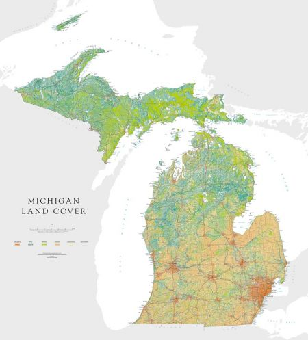 photo regarding Printable Maps of Michigan known as Michigan - Land Protect Map