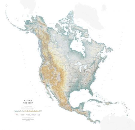 United States Map Topographic.North America Elevation Tints Map Wall Maps