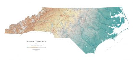 North Carolina Elevation Tints Map Fine Art Print Map - Map in north carolina
