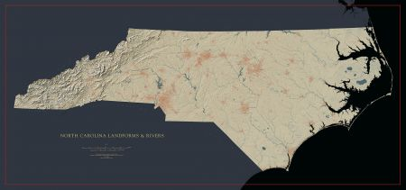 North Carolina Landforms And Rivers Map Fine Art Print Maps