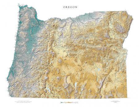 Oregon Elevation Tints Map Fine Art Print Map